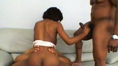 Short haired ebony in an all black threesome getting dick and swallowing cum