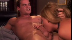 Freshly legal blonde tart with big tits has sensual fuck in library