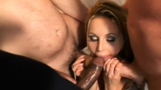 Busty Czech babe has three horny studs roughly fucking her juicy holes