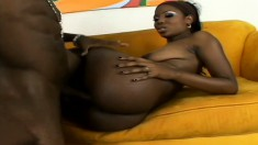 Stunning ebony babe lets a hunky black guy drill her tight cumhole