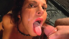 Two lusty eye candies get to swallow and swap this guy's cum