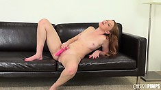 Marie McCray's sweet snatch eagerly anticipates the entry of her dildo