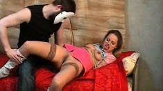 Irresistible blonde Kati gets tied up and humiliated by a masked guy