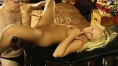 Striking blonde amateur spreads her lovely legs and gets pounded hard