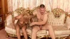 Alluring blonde mom gets her hairy peach banged rough by a young dude