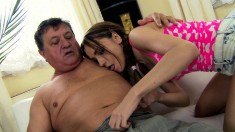 Enticing young beauty with a splendid ass rides an old man's big dick