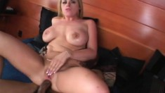 Lusty blonde chick can't wait to take in this unyielding black fuck rod