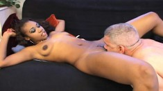 Sexy ebony Vivica eats his white dick and gets a smooth cunt fucking