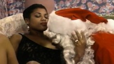 Black cutie Jordan Mcknight plays out her sexual fantasies with Santa