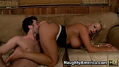 Chubby blonde cougar with massive tits gets eaten out and boned