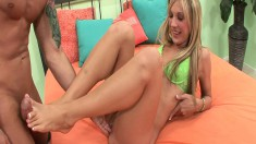 Talented Amy Brooke uses her feet before she hops on to ride him