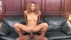 Slim ebony chick has a dark stud giving her the hot fuck she deserves