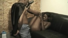 Alluring ebony teen getting her sweet pussy pumped full of black meat