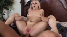 Blonde Aaralyn Barra eats his meat, rides it and takes it up the butt