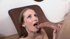 Skinny brunette Hailey Young deep throats a big dick and swallows