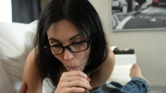 Shy brunette with glasses welcomes a long stick up her fiery anal hole