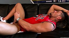 Putting on the Bulls jersey turns this guy into a horny diehard fan and he beats his meat