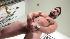 Horny boy Zack shows off his massive dick while using a penis pump