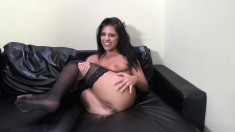 Seductive girl in black stockings Adriana has a passion for hard meat