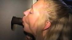 Trashy blonde with big boobs Darian brings a few hard poles to orgasm