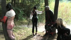 Sexy mistress Carmen and fellow dommes use an older slave's ass and balls for target practice