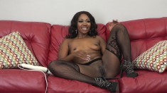 Dark skinned beauty in lingerie Skyler takes a white cock for a ride