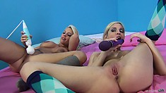 Three fine bitches with nice juicy titties descent on a big dick