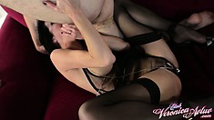 Veronica seizes the chance to wrap her lips around a cock and makes the most of it