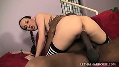 Young Amai Liu deepthroats an enormous cock and gets drilled hard