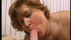 Chunky mature blonde with big boobs has a young stud pounding her fiery hairy peach