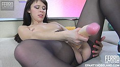 Slim brunette with tiny tits Margarita drives a huge dildo in and out of her cunt