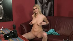 Can this cute blondie make it through this naked casting session?