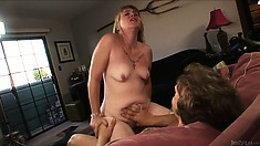 Who knew grannies could get this wild! Horny mature bitch sinks dick deep in her throat before riding it
