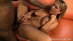 Blonde beauty with big tits and a sweet ass Jessica Moore can't resist a black dick