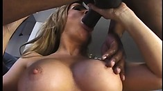 Sexy blonde Milf gobbles on a big black stick and gets hammered and eats cum