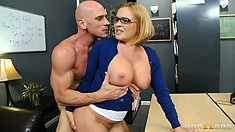 Turning her ass towards him, the blonde has him invading her pussy from behind