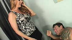 Horny blonde masseuse tongues his anal hole before having him drill her fiery cunt