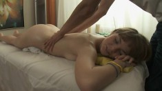Doll gets a massage before having her barely legal holes stuffed