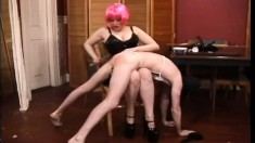 Slutty bitch with pink hair shaves the ass of her obedient love-mate