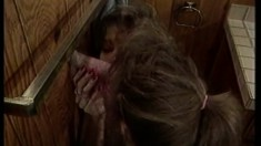 Classic porn with two hotties do each other and blow a glory hole cock