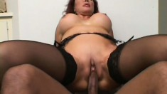 Redhead MILF gets her snatch stretched wide by a thick black dick