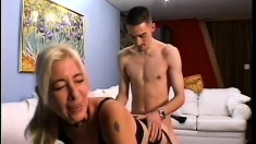 Filthy blonde MILF is eager to please the meat of Emerson Styles