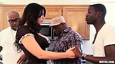 Sexy brunette maid has a nice round ass these black boys like to watch