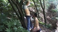 Two dudes sneak out to the woods for a cock lunch and some butt banging