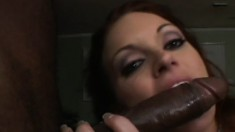 Seductive redhead with perfect tits is longing for a huge black prick