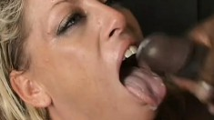 Two aggressive dudes have their dirty way with a blonde whore