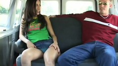 Delightful young girl strips off her clothes and gets fucked hard in the back of the van