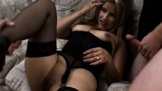 Sweet Latina amateur in a sexy black dress has fun with two horny guys