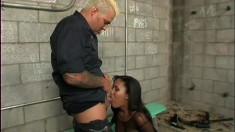 Trashy black hooker sucks and ride her jailor to get set free