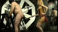 Dominant blonde babe gets mean with her fat male gimp's butt